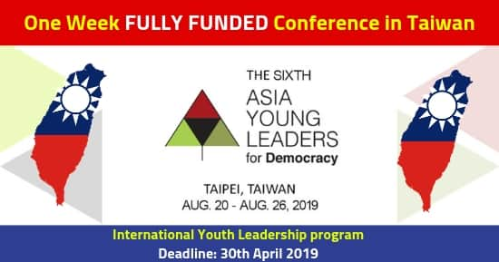 6th Asia Young Leaders Program 2019 [Fully Funded] in Taiwan