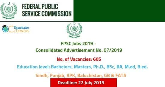 FPSC Jobs in Pakistan 2019 - Consolidated Advertisement No