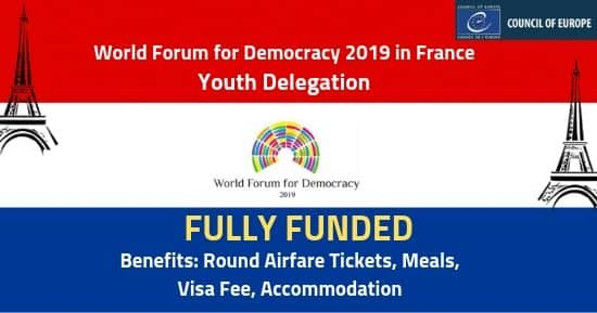 World Forum for Democracy 2019 [Fully Funded] France- Youth Delegation