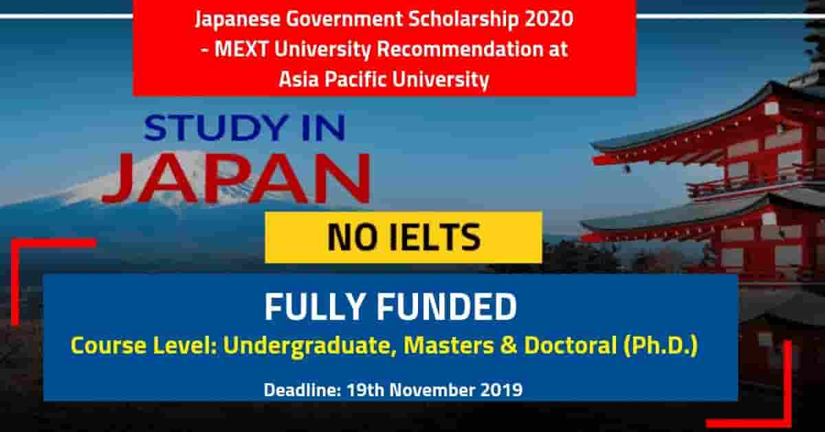 Japanese Government Scholarship 2020 MEXT at Asia Pacific