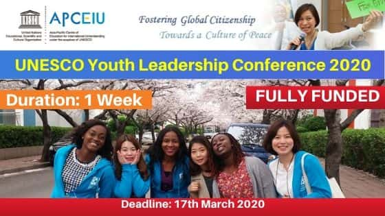 "Résultat de recherche d'images pour ""UNESCO YOUTH LEADERSHIP WORKSHOP 2020 IN SOUTH KOREA [FULLY FUNDED]"""