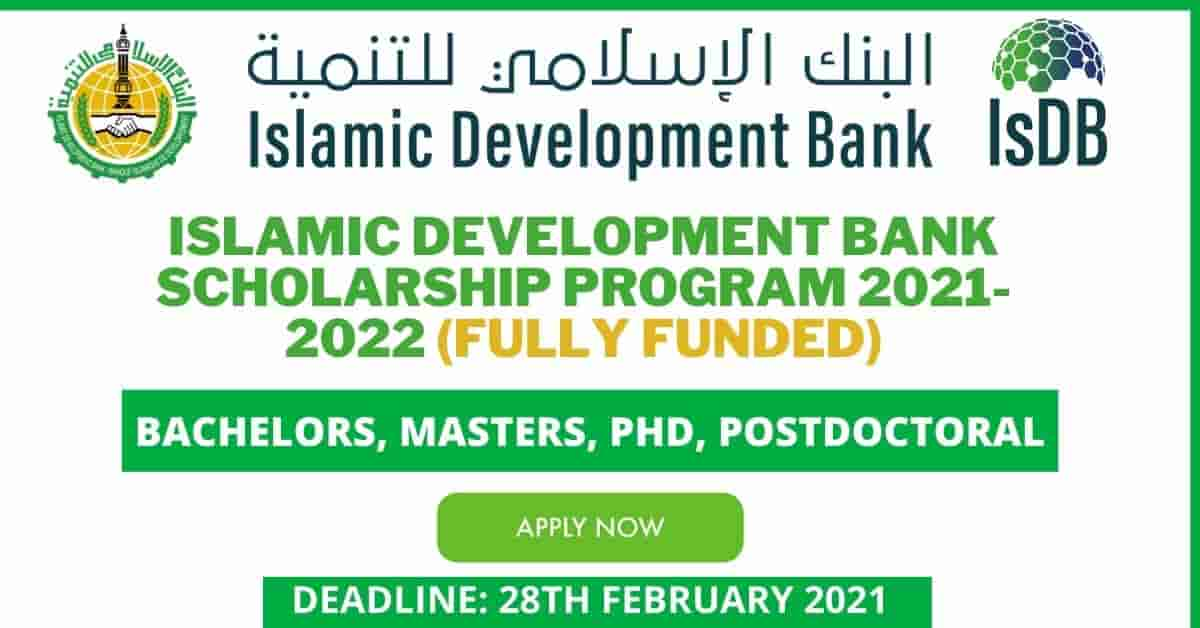 Islamic Development Bank Scholarship 2021 Fully Funded